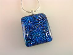 Dichroic Glass Pendant, Fused Glass Jewelry, Cobalt Blue Starburst Fireworks Necklace