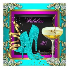 Fabulous 30 Pink Teal Gold Birthday Party Announcement