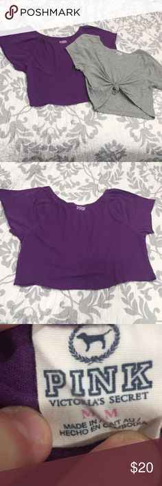 PINK Medium 2 short sleeve tops gray and purple In great condition!  These tops are FUN! Tie up these tops for your workouts or to match with your favorite pair or jean shorts!  They fit a medium but are styled oversized!  Pet free/smoke free home! PINK Tops Tees - Short Sleeve