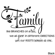 'Family, Like Branches on a Tree... Two-tone Vinyl Wall Decal (Black)