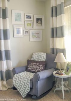 Love this aqua and gray nursery with pops of lime green. This whole room is full of fun, inexpensive DIY projects that work great whether you have a boy or a girl.