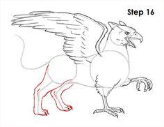 Creature Drawings, Animal Drawings, Fantasy Creatures, Mythical Creatures, Griffin Drawing, Griffin Mythical, Drawing Sketches, Drawing Stuff, Drawing Tips