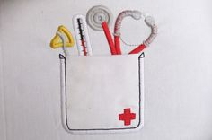 Cute doctor real pockets - machine embroidery applique design In-the-Hoop - 4, 5, 6 and 7 inches. $3.49, via Etsy.