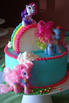 My Little Pony Cake. I love the way they made the rainbow. There are a few little girls I know who would love this!