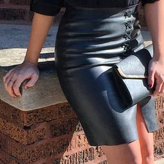 H&M Leather Lace Up Skirt | Just Becky