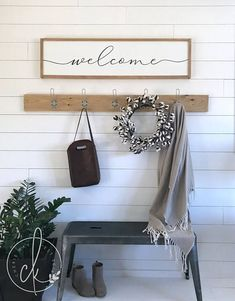 "Gorgeous large entryway ""welcome"" sign. Rustic Farmhouse Kitchen & Modern Farmhouse Home Decor Entryway Wall Decor, Home Wall Decor, Home Decor Kitchen, Home Wall Art, Kitchen Modern, Entryway Hooks, Entryway Quotes, Art Decor, Foyer Bench"