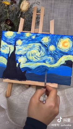 Easy Canvas Art, Simple Canvas Paintings, Small Canvas Art, Mini Canvas Art, Canvas Painting Tutorials, Diy Painting, Van Gogh Pinturas, Arte Van Gogh, Inspiration Art
