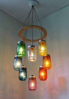 Valentines RAINBOW Heart Shaped Mason Jar Chandelier - Rustic Hanging Pendant Lighting Fixture - Direct Hardwire - BootsNGus Lamp Design. $215,00, via Etsy.