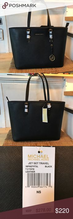 NWT Michael Kors Travel Tote Black leather Michael Kors jet set travel Tote. Never been used, wrapping is still around straps. Completely clean no scuffs or marks. NWT. Beautiful and classic bag! Needs to be with someone who will use it! Sad to see it go, but I just don't use it. KORS Michael Kors Bags Totes