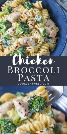 Rotini Pasta Recipes, Pasta Dinner Recipes, Chicken Pasta Recipes, Easy Pasta Recipes, Recipe Chicken, Cooking Recipes, Healthy Recipes, Recipe For Broccoli And Chicken, Crockpot Chicken Broccoli