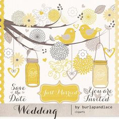 Wedding birds clipart flower, flower clipart, wedding clipart, wedding invitation, Hand Drawn Mason Jars, yellow, Beige on Etsy, $4.99