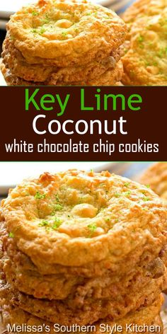 Island inspired Key Lime Coconut White Chocolate Chip Cookies are to die for. They're a bite of sunshine that never last very long in your cookie jar. Key Lime Cookies, Cookie Desserts, Cookie Recipes, Dessert Recipes, Cookie Bars, Coconut Cookies, Yummy Cookies, Candy Cookies, Sweet Cookies