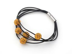 Dark Yellow Color Round 10mm Rhinestone Ball and Black Leather Bracelet with Magnetic Clasp