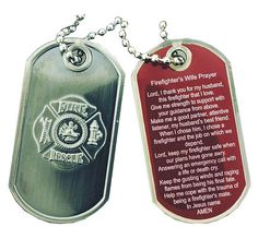 Firefighter's Wife Prayer Brushed Steel Dog Tag  Sku by RescueTees,