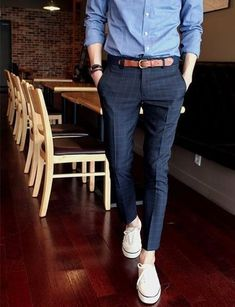 Men's Blue Chambray Dress Shirt, Navy Check Dress Pants, White Plimsolls, Navy Canvas Belt