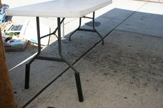 "Pvc piping is used to raise the table.  It is approx. 12'' long and a little 2"" inside diameter.  They are very easy to use.  Just slide them off and on.  It brings the table about waist high and is so much better for viewing.  I'm always asked about the table height by other vendors.    Now on FACEBOOK  facebook.com/innerearthjewelry"