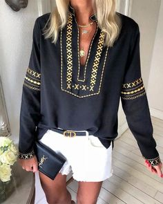 outfit summer Ethnic Style Long Sleeve V-neck Top Ethnic Style Langarm Top mit V-Ausschnitt Cool Outfits, Fashion Outfits, Womens Fashion, Latest Fashion, Fashion Videos, Trending Fashion, Punk Fashion, Lolita Fashion, Fashion Trends