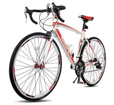 Merax Finiss Aluminum 21 Speed 700C Road Bike Racing Bicycle Shimano (Red & white, 54 cm). Lightweight and Sturdy 6061 Aluminum Frame for smooth riding and easy transport. Shimano shifter and Shimano derailleur for reliable shifting. Quick-Release Front Wheels is easy to install and no tools needed. Aluminum kickstand is lightweight and can reduce the weight of the bike. Make sure you read Product Description before purchasing.
