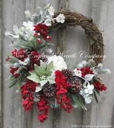 Christmas Wreath, Holiday Wreath, Christmas Floral, Poinsettia, Winter Wreath, Designer Christmas, Woodland Wreath by NewEnglandWreath on Etsy https://www.etsy.com/listing/210189426/christmas-wreath-holiday-wreath