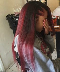 red straight hair, mariahkayhearts♡