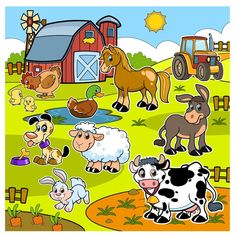 Farm by nabillll fazendinha, festa infantil, cata ventos, animais de fazend Farm Animals Preschool, Baby Zoo Animals, Teacher Classroom Decorations, Farm Day, Grande Section, Educational Games For Kids, Simple Cartoon, Classroom Walls, Language Activities