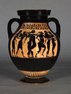 Pottery: black-figured amphora: men courting boys (back: the same).