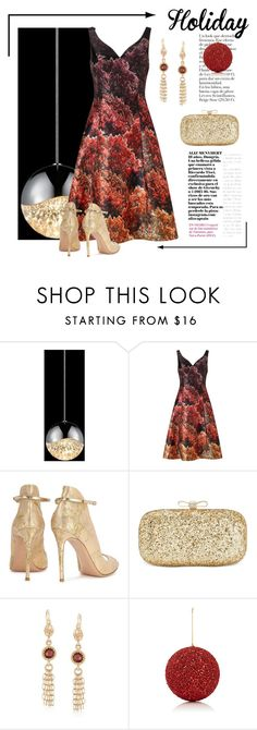 """""""Holiday Ball"""" by conch-lady ❤ liked on Polyvore featuring Sonneman, Adrianna Papell, Gianvito Rossi, INC International Concepts, Ross-Simons, Gold Eagle, holiday and holidayball"""