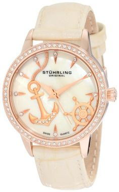 Nautical watch (too bad there is a waiting list) Stührling Original Women's Vogue Audrey Verona Del Mar Swiss Quartz Mother-Of-Pearl Swarovski Crystal Beige Watch Ice Ice Baby, Vogue, Anchor Watch, Jewelry Box, Jewelry Accessories, Jewlery, Silver Jewelry, Trendy Accessories, Silver Ring