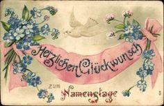 Präge Ansichtskarte / Postkarte Glückwunsch Namenstag, Vergissmeinnicht, Brieftaube, Kitsch
