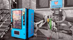 Neat! Bikestock is a bike repair vending machine in New York. Each station features a bicycle pump and tools such as spanners, wrenches and tire levers, alongside a vending machine that sells equipment and foods such as inner-tubes, locks, other bike parts, energy bars and bottled water.