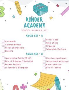 Kindergarten School Supplies List