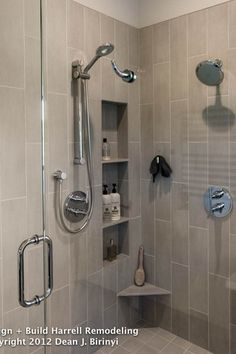 Contemporary Master Bathroom with Portals Hardware Opus I Shower Door Double Pull, Daltile Plaza Nova Gray Fog Porcelain Tile