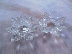 2 BEAUTIFUL FACETED GLASS/CRYSTAL CANDLE HOLDERS •PERFECT FOR ENTERTAINING! XLNT $9.99 BIN $7.76 sh