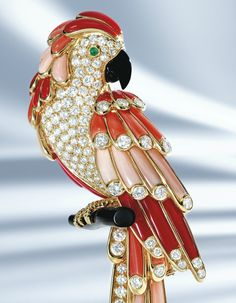 Coral, emerald, diamond and onyx parrot brooch, Van Cleef & Arpels ...