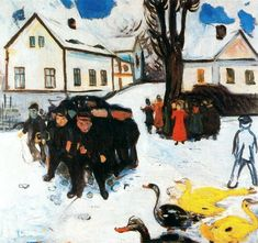 "expressionism-art: "" The Village Street, 1906, Edvard Munch Size: 100x105 cm Medium: oil on canvas"""
