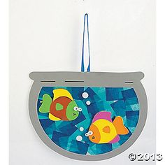 Fish craft, precut fish bowls. Buy blue tissue paper and fish stickers.