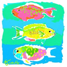 Fish Print 16x20 by Kelly Tracht Lilly Pulitzer Art by trachtart