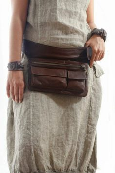Belt pouch leather gray dress