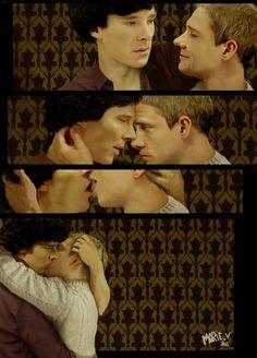 Kiss by MarieLikestoDraw (Sherlock Holmes / John Watson, Johnlock, Benedict Cumberbatch, Martin Freeman, BBC Sherlock Fanart)