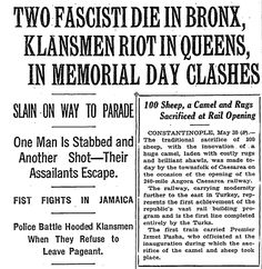 In 1927, Donald Trump's father was arrested after a Klan riot in Queens (From 2.29.16, Washington Post)