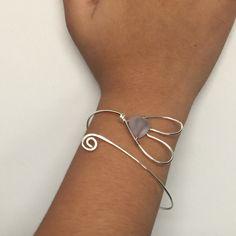 Made a Lavendar sea glass wire heart bangle bracelet!