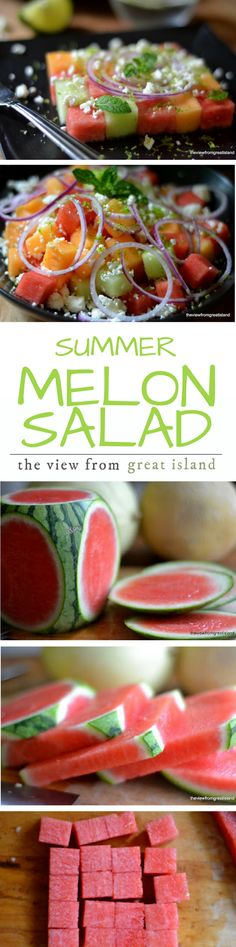 Summer Melon Salad ~ this healthy and adorable checkerboard melon salad is gorgeous and so refreshing ~ and it's always a huge hit! It's easy to put together, I'll take you through it step by step.