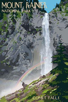 Mount Rainier National Park - Comet Falls & Elk - Lantern Press Poster