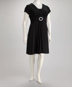 afaeab89fe0 R M Richards Black Broach Gathered-Waist Surplice Dress - Plus