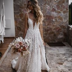 All-White Wedding – Textured Bridal Dresses – Galia Lahav The perfect wedding dress for an all-white wedding theme is a gown that's textured like our voluminous ballgown made of lace. Country Wedding Dresses, Wedding Dress Sleeves, Modest Wedding Dresses, Boho Wedding Dress, Bridal Dresses, Elegant Dresses, Evening Dresses For Weddings, Gowns With Sleeves, Lace Dress
