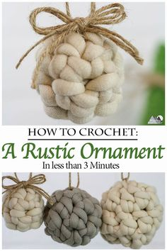 Rustic Crochet Ornaments Crochet these rustic farmhouse chic ornaments in just minutes These ornaments take very little chunky yarn and can be crocheted in minutes Quick. Crochet Christmas Decorations, Christmas Crochet Patterns, Crochet Ornaments, Holiday Crochet, Crochet Gifts, Crochet Home, Free Crochet, Easy Crochet, Crochet Snowflakes