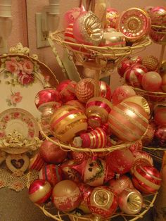 Vintage pink Christmas ornaments...for Jan!