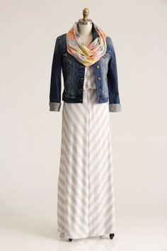 Stitch Fix: Tenessy Chevron-Print Maxi Dress, Kalie Distressed Denim Jacket, and Daria Chevron Infinity Scarf. I already have a denim jacket, but if Stitch Fix sent me the dress and scarf I would be very happy!