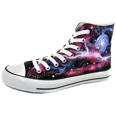 Huan Qiu Unisex Hand Painted Galaxy High Top Canvas Shoes ($15) ❤ liked on Polyvore featuring shoes, sneakers, high tops, cosmic shoes, nebula shoes, high top trainers, high top sneakers and galaxy shoes