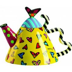 Steep your favorite teas in this stylish ceramic teapot by renowned pop-artist Romero Britto. The heart design, round teapot showcases the artist& trademark use of vivid colors and bold graphic patterns. Ceramic Teapots, Ceramic Art, Teapots Unique, Vintage Teapots, Cute Teapot, Teapots And Cups, Chocolate Pots, Graphic Patterns, Tea Time